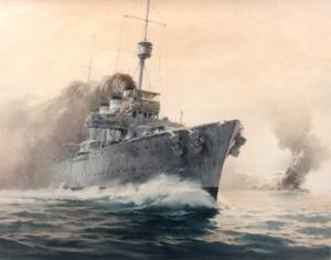 The sea battle between HMAS Sydney and the German cruiser Emden, 9 November 1914 (Phil Belbin)