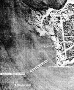 An aerial view of Darwin showing the location of the anti-submarine boom net and other fixed naval defences during World War II.
