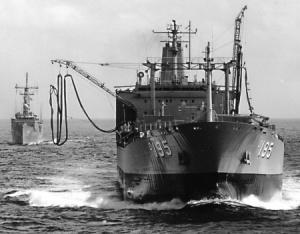 HMAS Westralia prepares to conduct a RAS with HMAS Adelaide.