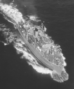 A topside view of HMAS Curlew at sea.