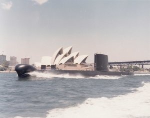Oxley in Sydney Harbour. Note the rounded Sonar dome forward, which was distinctive to post SWUP Oberons.