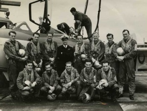 Lieutenant Stanley Carmichael with 808 Squadron in 1955. Carmichael and Acting Sub-lieutenant Michael Williams were killed when their 724 Squadron Sea Venom crashed into the sea off the NSW South Coast in 1959. Carmichael is second from the left in the front row, with the beard.