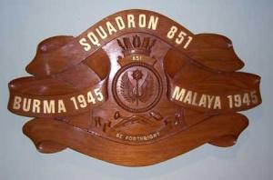 851 Squadron's RN Battle Honours Board.
