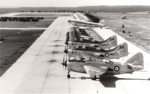 Aircraft on the tarmac at HMAS Albatross. In the foreground are Gannets followed by Sea Venoms, Sea Vampires, a Dakota and Wessex helicopters.