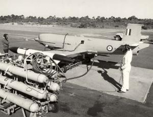 A GAF Jindivik pilotless drone being refuelled.