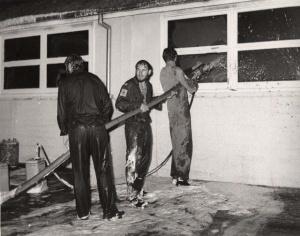 Sailors fighting the hangar fire at HMAS Albatross on the night of 4 December 1976.