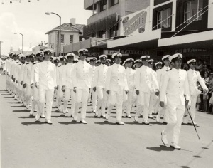LCDR Terry Ford leads Officers Divisions at the Freedom of Entry parade on Junction Street, Nowra 1979.