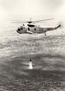 RAN Sea King Shark 04 engaged in dipping sonar operations.