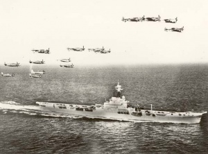 Sea Furies & Fireflies above HMAS Sydney.
