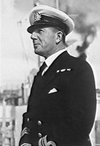 HMAS Queenborough's first Australian Commanding Officer Commander AH Green, DSC*, RAN.