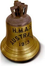 HMAS Australia ship's bell now preserved in the Naval Heritage Collection
