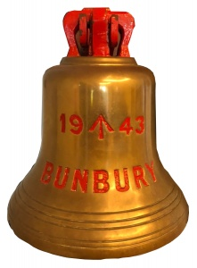 HMAS Bunbury ship's bell. (image courtesy of City of Bunbury Council)