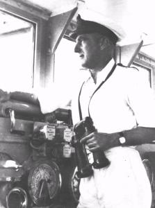 Captain Joseph Burnett on Sydney's bridge, May 1941.