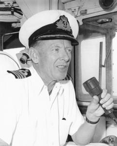 Captain John Stevenson on the bridge of HMAS Melbourne (II), 1969.