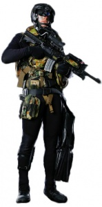 Clearance Diver carrying an M4A1 Carbine.