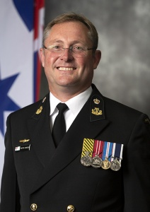 Bandmaster, RAN Band Tasmania, Chief Petty Officer Martyn Hancock.