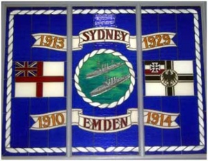 A stained glass window at HMAS Cerberus that commemorates the two protagonists (Defence).