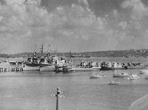 RAN ships in reserve at Village Point, Watsons Bay, Sydney, NSW, circa 1948. The corvettes HMAS Kapunda, HMAS Strahan and HMAS Colac are present in this image. (AWM 304877)