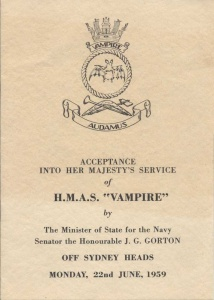 A booklet commemorating the acceptance of HMAS Vampire (II) into service. She was commissioned in Sydney the following day.