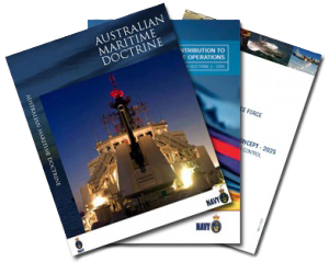Graphic displaying Sea Power Centre - Australia doctrine publications.