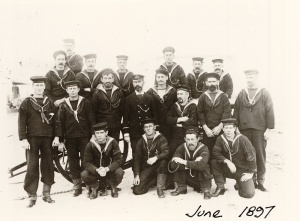 A Victorian Naval Brigade field gun crew from HMCS Protector in June 1897.