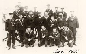 A Victorian Naval Brigade field gun crew from HMCS Protector in June 1897.