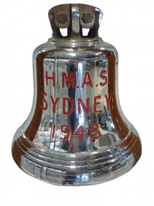 HMAS Sydney's ship's bell is now on display in the Naval Heritage Collection