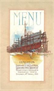 The menu from HMAS Warrego (I)'s launching luncheon.