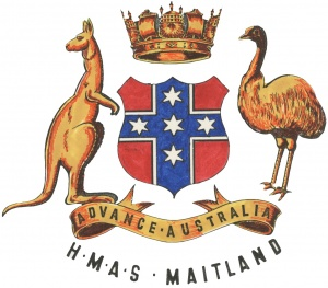HMAS Maitland's badge, as worn during her period as a commissioned establishment.