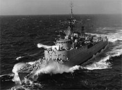 HMAS Queenborough at sea.