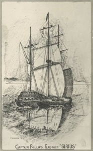 The flagship of the First Fleet in which Robert Watson served as quartermaster, HMS Sirius.