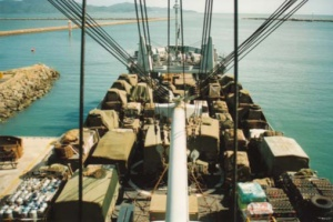 HMAS Tobruk's vehicle deck loaded to capacity prior to sailing from Townsville, 31 December 1992.