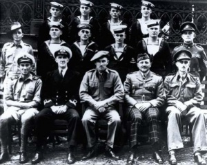 The crew of Krait and operatives of Operation JAYWICK. Left to right (Front): LEUT Ted Carse, LEUT Donald Davidson, MAJ Ivan Lyon, MAJ Jock Campbell (did not accompany the expedition), LT Robert Page; (Middle): CPL Andrew Crilly, LS Kevin Cain, LS James McDowell, L.TEL Horrie Young, AB Walter Falls, CPL Ron Morris; (Back): ABs Moss Berryman, Frederic Marsh, Arthur Jones and Andrew Huston.
