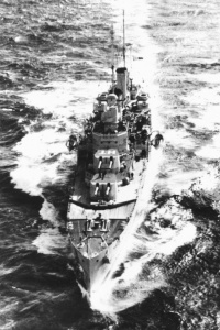 Hobart at sea participating in the Mediterranean campaign.