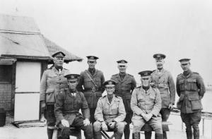 Centre front: Lieutenant Commander LS Bracegirdle with fellow officers of the 1st Royal Australian Navy Bridging Train, Egypt, 1916. AWM A01267