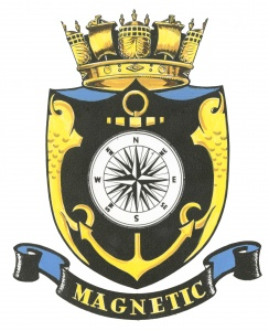 HMAS Magnetic's badge, as worn during her time as a commissioned establishment