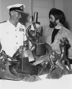 Vice Admiral David Leach (Chief of Naval Staff) talking with Ante Dabro regarding his winning design for the National Memorial to the Royal Australian Navy.