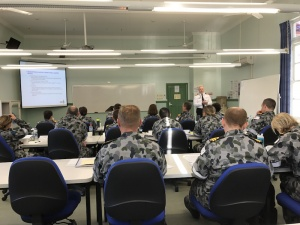 Reserve personnel attend a training presentation.