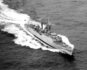 HMAS Quiberon at sea after her conversion