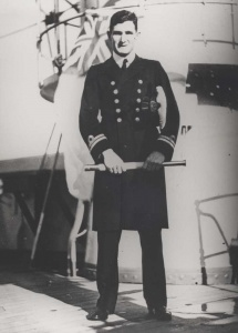 Lieutenant Commander Robert W Rankin, RAN, was appointed in command of HMAS Yarra on 11 February 1942, He is depicted here wearing the rank of a lieutenant.