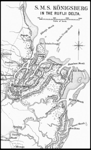 The Rufiji River in which SMS Königsberg retreated out of range of the Allied warships blockading the coast.