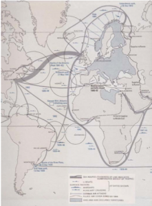 The major shipping routes and naval actions of the Atlantic Ocean in World War II. The relative thickness of each line provides an indication of the volume of traffic and hence importance of the route.