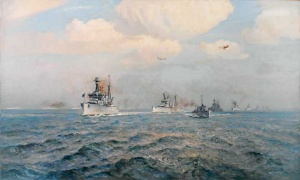 The battlecruiser HMAS Australia at the surrender of the 'German High Seas Fleet in the Firth of Forth, 21 'November 1918, by Arthur Burgess (AWM ART00192)