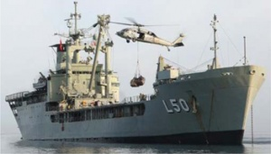MFU HMAS Tobruk displaying her pennant number L50. The two new LHDs (amphibious assault ship, multi-purpose), HMA Ships Adelaide and Canberra, will wear the numbers L01and L02 from within Australia's ACP113 allocation. (RAN)