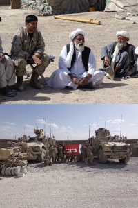 Top, Figure 3: Peace Shura. Bottom, Figure 4: Armoured vehicles, the one on the left having a Mine Roller to sweep for IED.