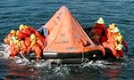 Trainees in life raft.