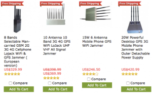 Examples of readily available modest cost (US$200-300!) GNSS jamming systems.