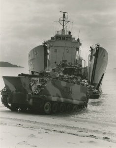 Tarakan disembarking Army vehicles. Beaching exercises such as this were typical for LCHs in their Army support role.