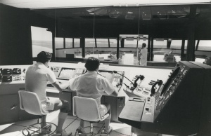 Training in the bridge simulator.