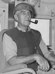 Vice Admiral McNicoll aboard HMAS Perth off Vietnam, circa February 1968.
